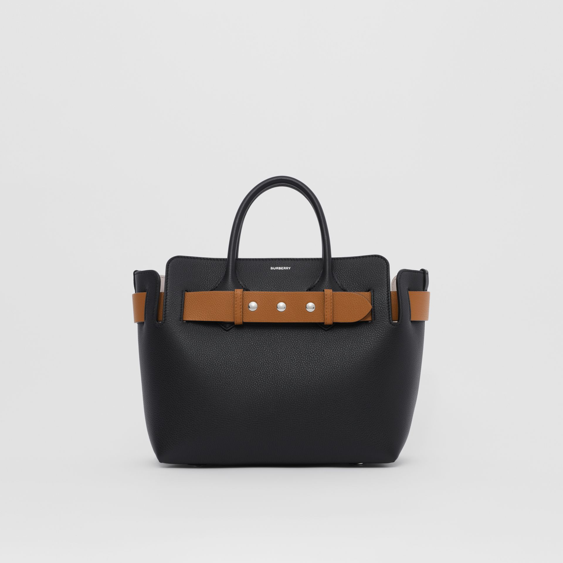 The Small Leather Triple Stud Belt Bag in Black/cognac/chalk Pink - Women | Burberry United Kingdom - gallery image 0