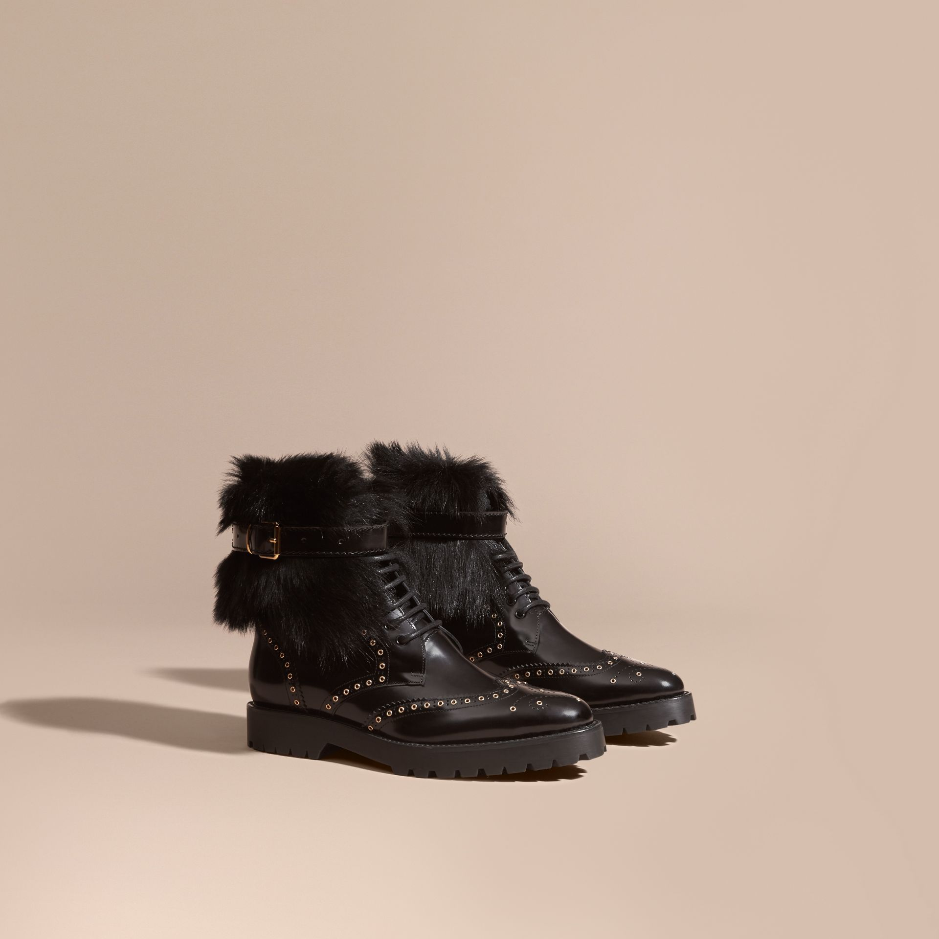Black Shearling and Leather Wingtip Ankle Boots - gallery image 1