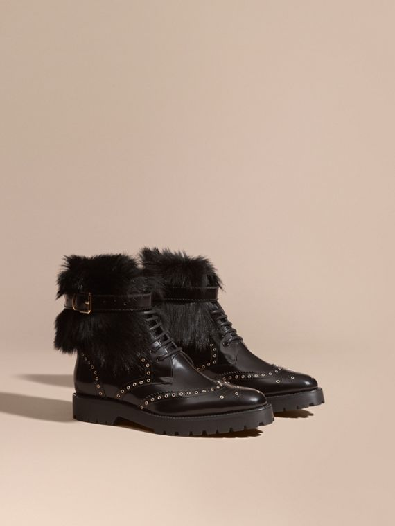 Shearling and Leather Wingtip Ankle Boots