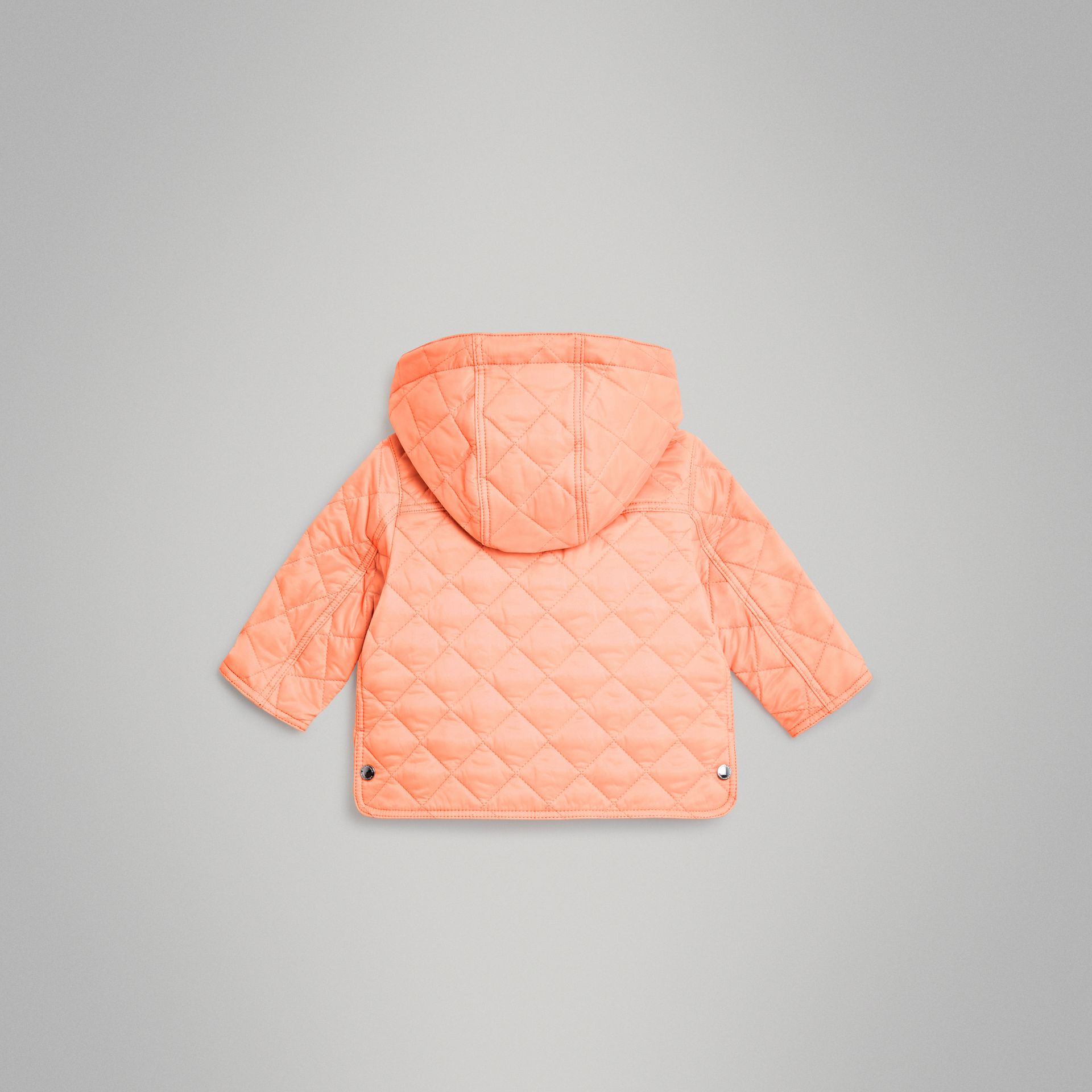 Diamond Quilted Hooded Jacket in Apricot Pink - Children | Burberry United Kingdom - gallery image 3