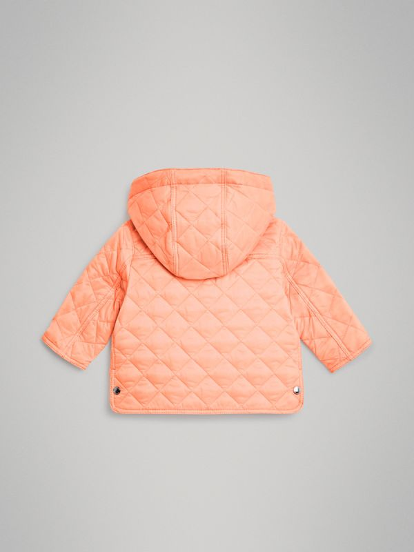 Diamond Quilted Hooded Jacket in Apricot Pink - Children | Burberry United Kingdom - cell image 3