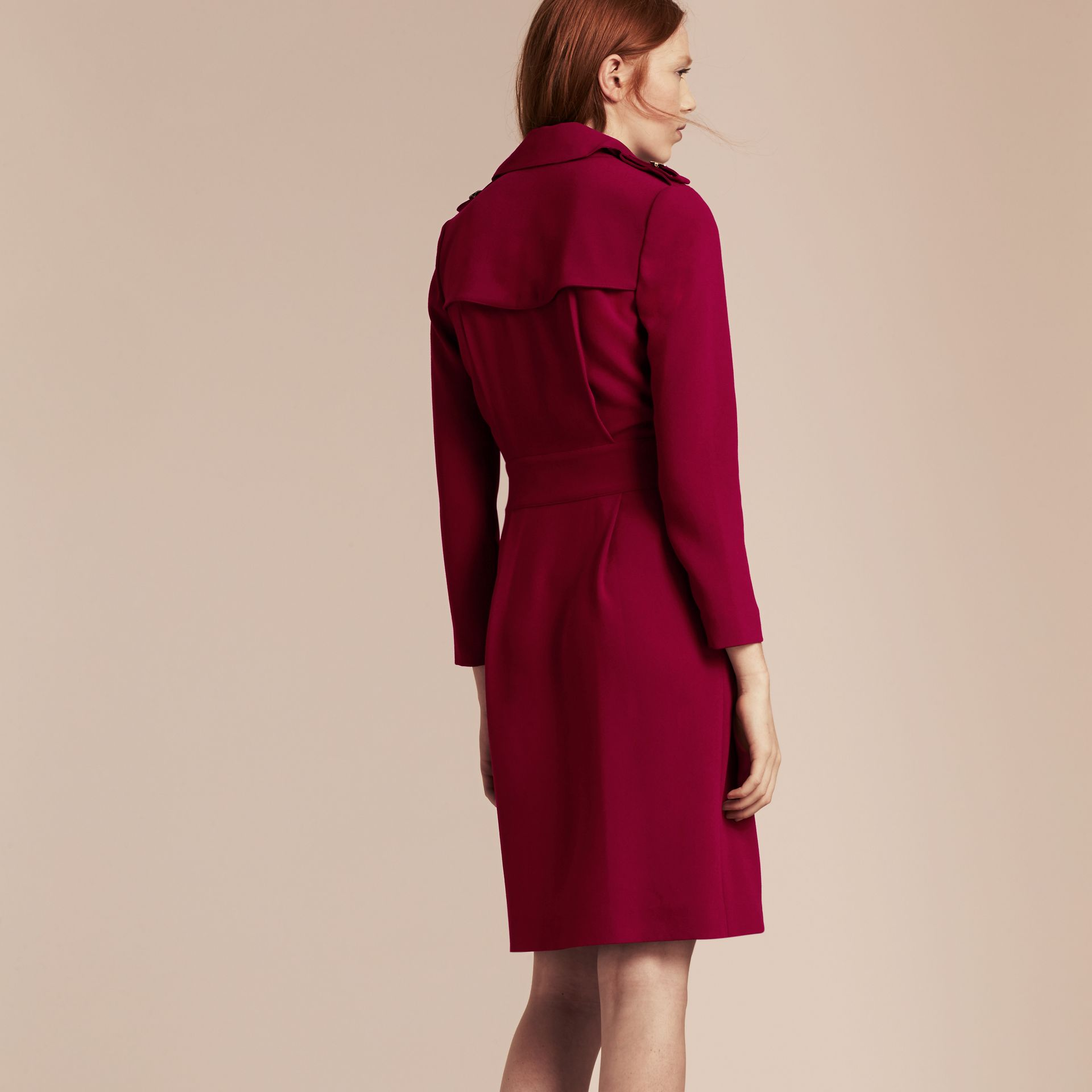 Garnet Buckle Detail Satin-back Crepe Trench Dress Garnet - gallery image 3