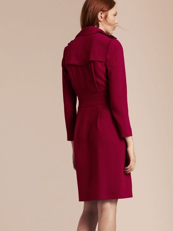 Garnet Buckle Detail Satin-back Crepe Trench Dress Garnet - cell image 2
