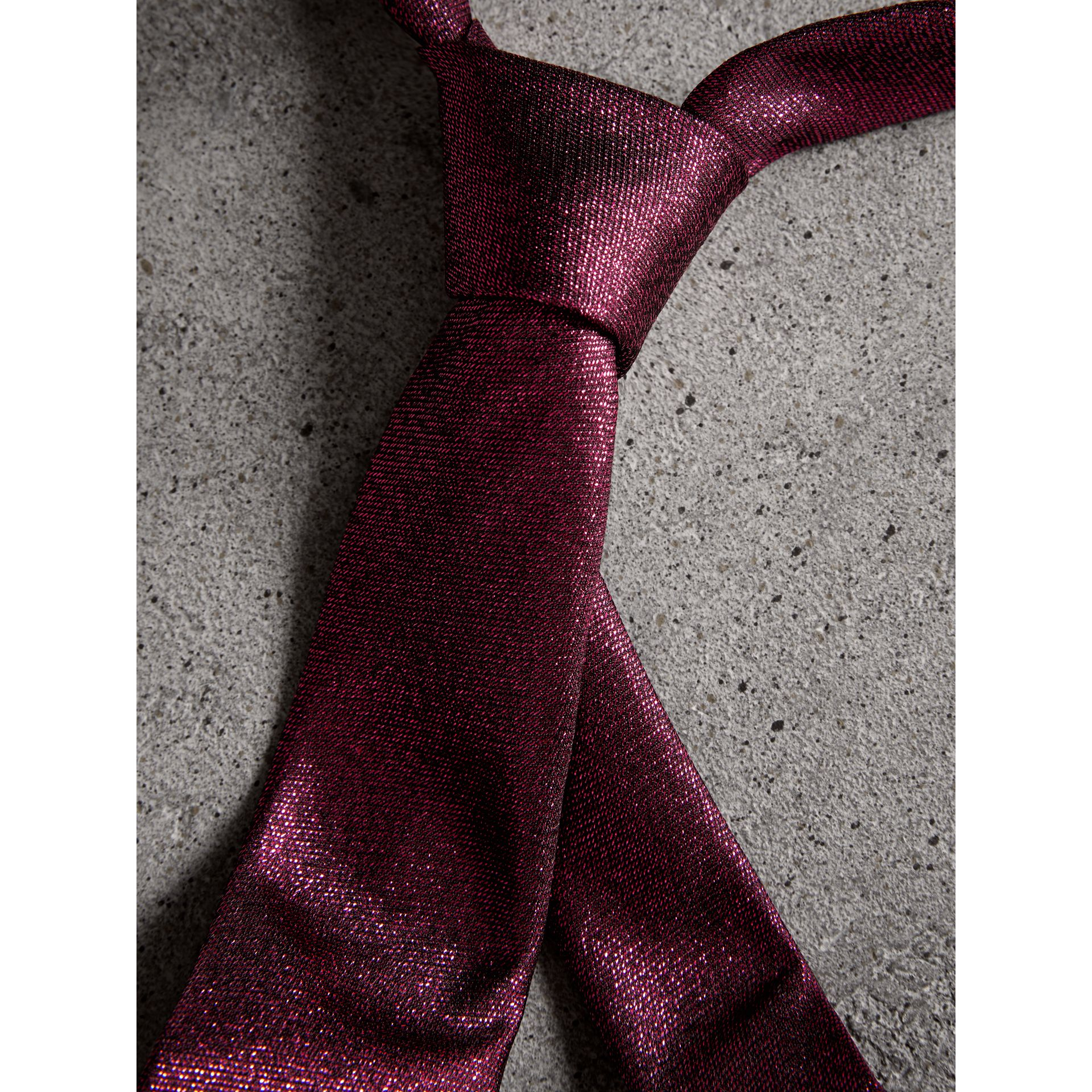 Slim Cut Metallic Silk Blend Tie in Bright Fuschia - Men | Burberry Canada - gallery image 1