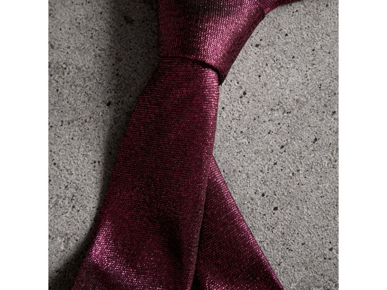 Slim Cut Metallic Silk Blend Tie in Bright Fuschia - Men | Burberry - cell image 1