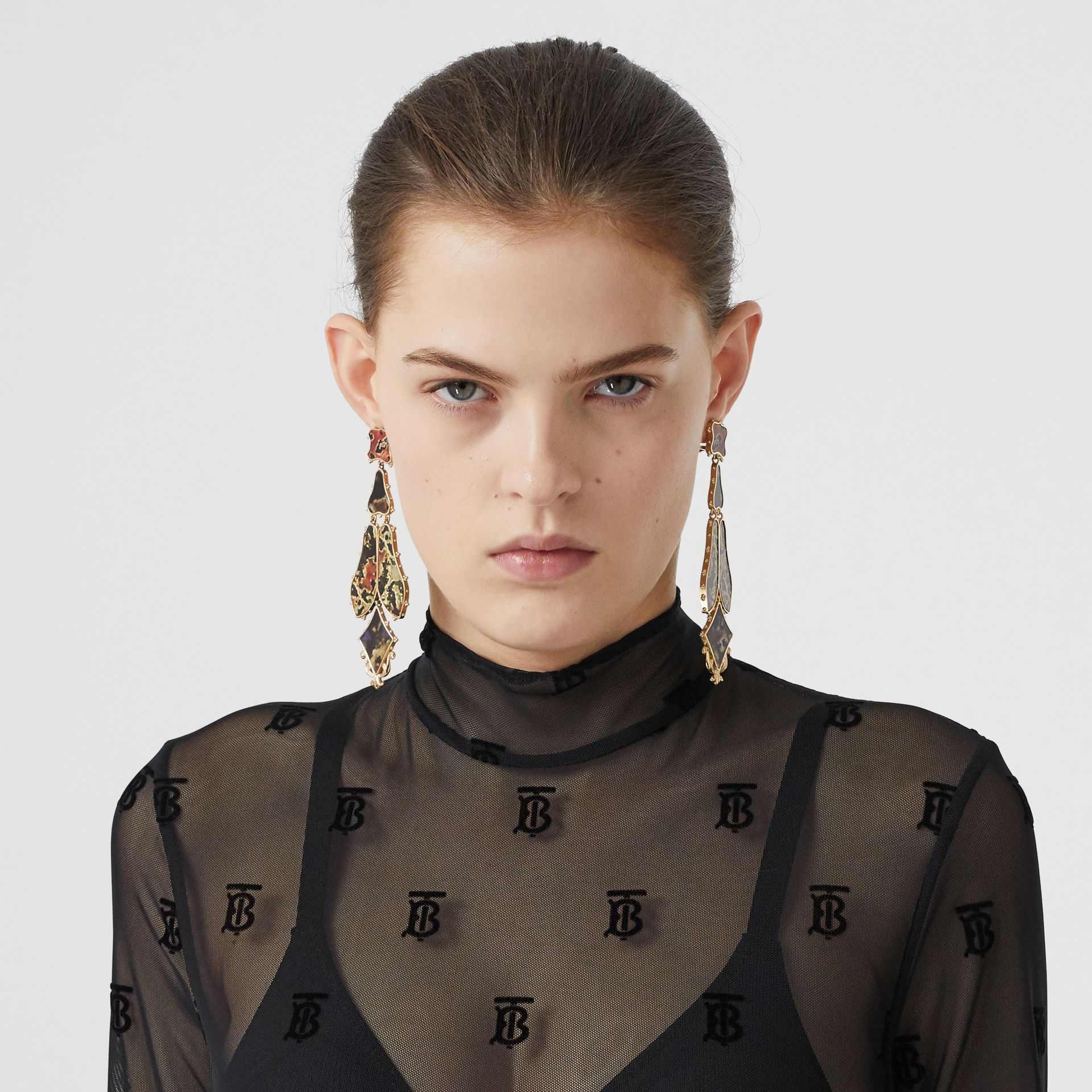 Monogram Motif Flock Mesh Turtleneck Top in Black - Women | Burberry - gallery image 1