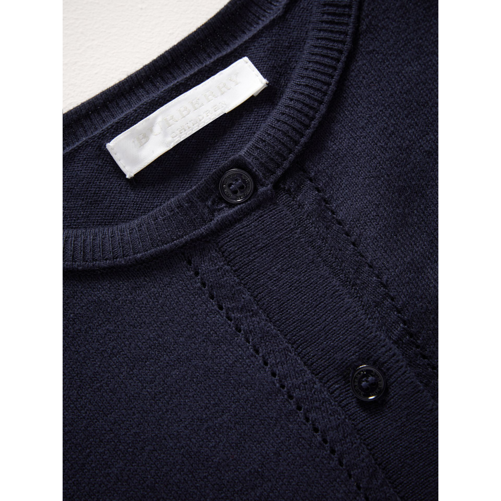Check Cuff Cotton Knit Cardigan in Navy | Burberry - gallery image 1