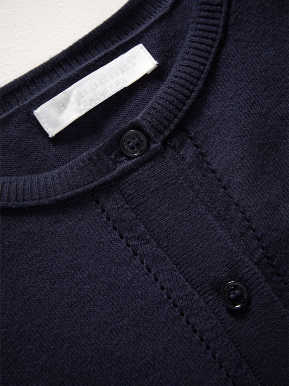 Check Cuff Cotton Knit Cardigan in Navy | Burberry - cell image 1