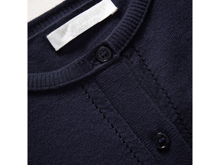 Check Cuff Cotton Knit Cardigan in Navy - Girl | Burberry - cell image 1