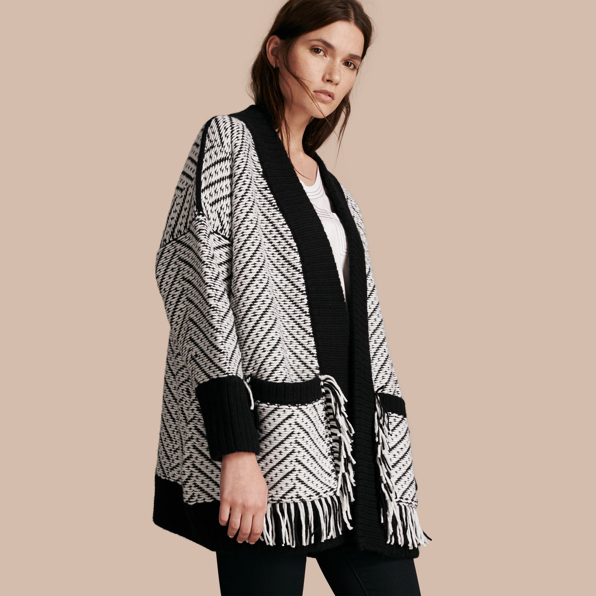 Black Graphic Knitted Wool Cardigan Coat - gallery image 1