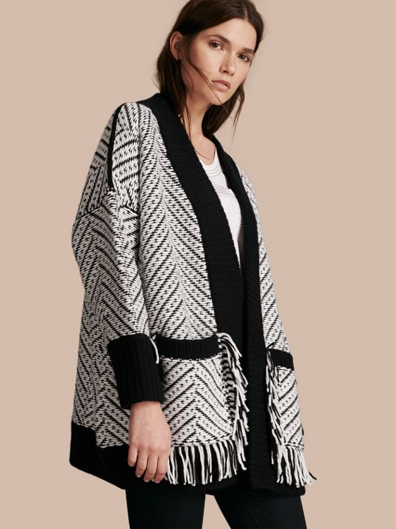 Graphic Knitted Wool Cardigan Coat