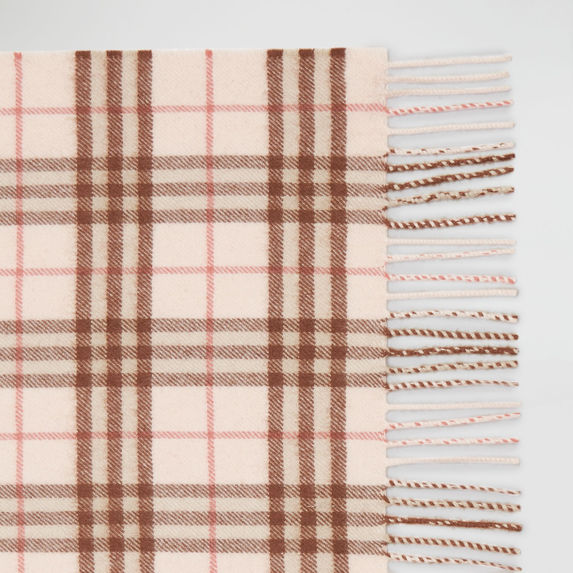 The Classic Vintage Check Cashmere Scarf in Ice Pink | Burberry United Kingdom - gallery image 1