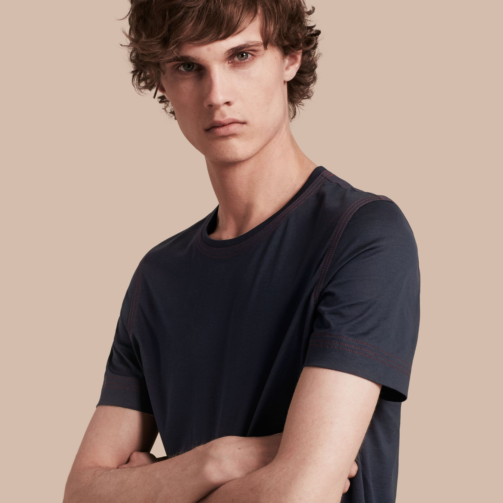 Navy Topstitch Detail Cotton T-shirt Navy - gallery image 1