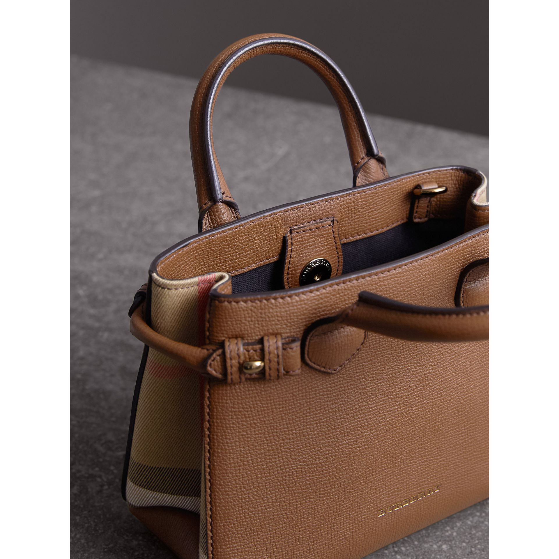 The Baby Banner in Leather and House Check in Tan - Women | Burberry United Kingdom - gallery image 5