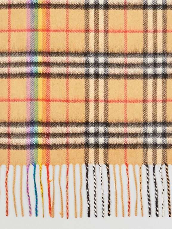 The Classic Rainbow Vintage Check Cashmere Scarf in Antique Yellow | Burberry - cell image 1