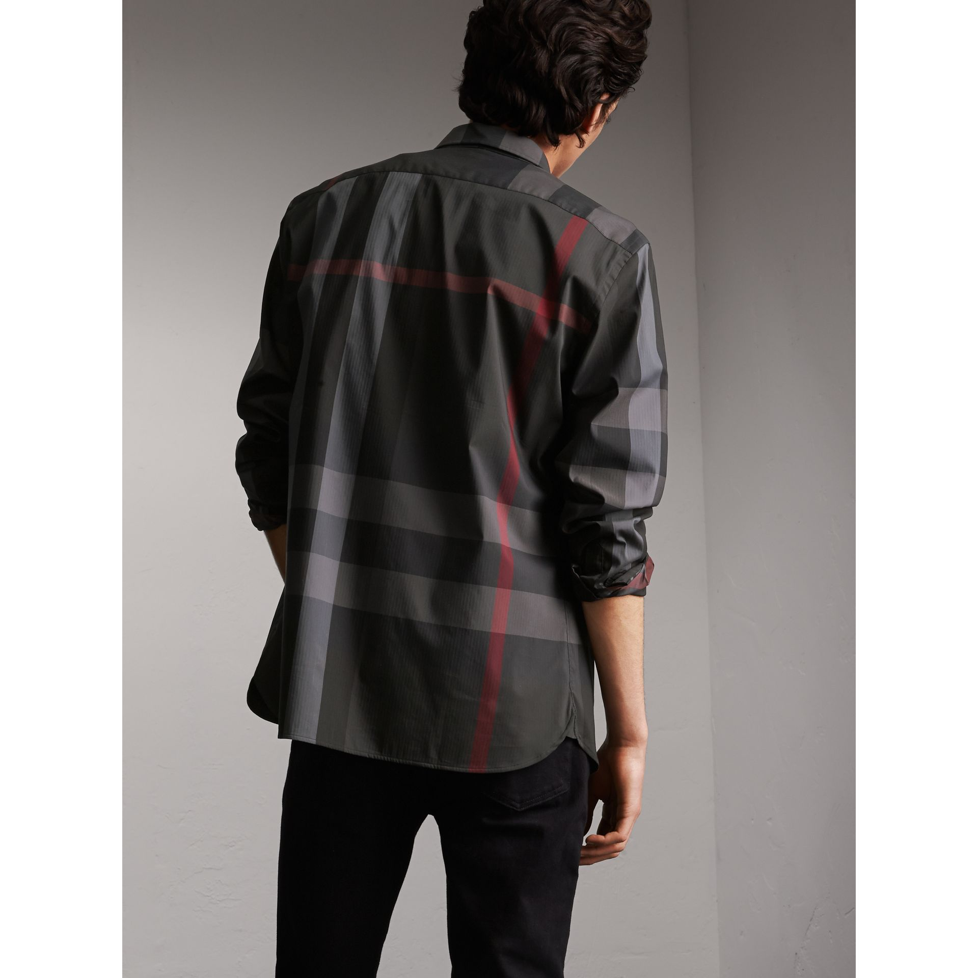 Button-down Collar Check Stretch Cotton Blend Shirt in Charcoal - Men | Burberry Singapore - gallery image 2