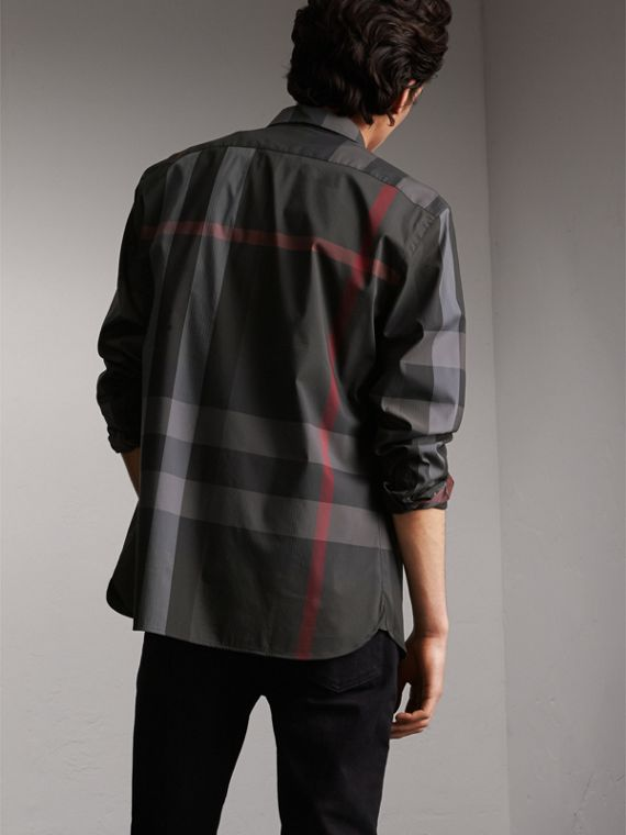 Button-down Collar Check Stretch Cotton Blend Shirt in Charcoal - Men | Burberry - cell image 2