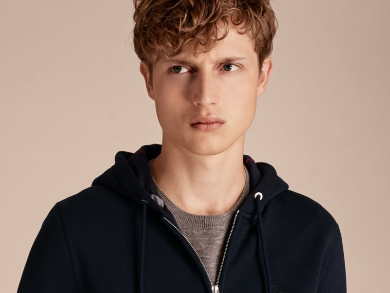 Hooded Cotton Jersey Top in Navy - Men | Burberry - cell image 4