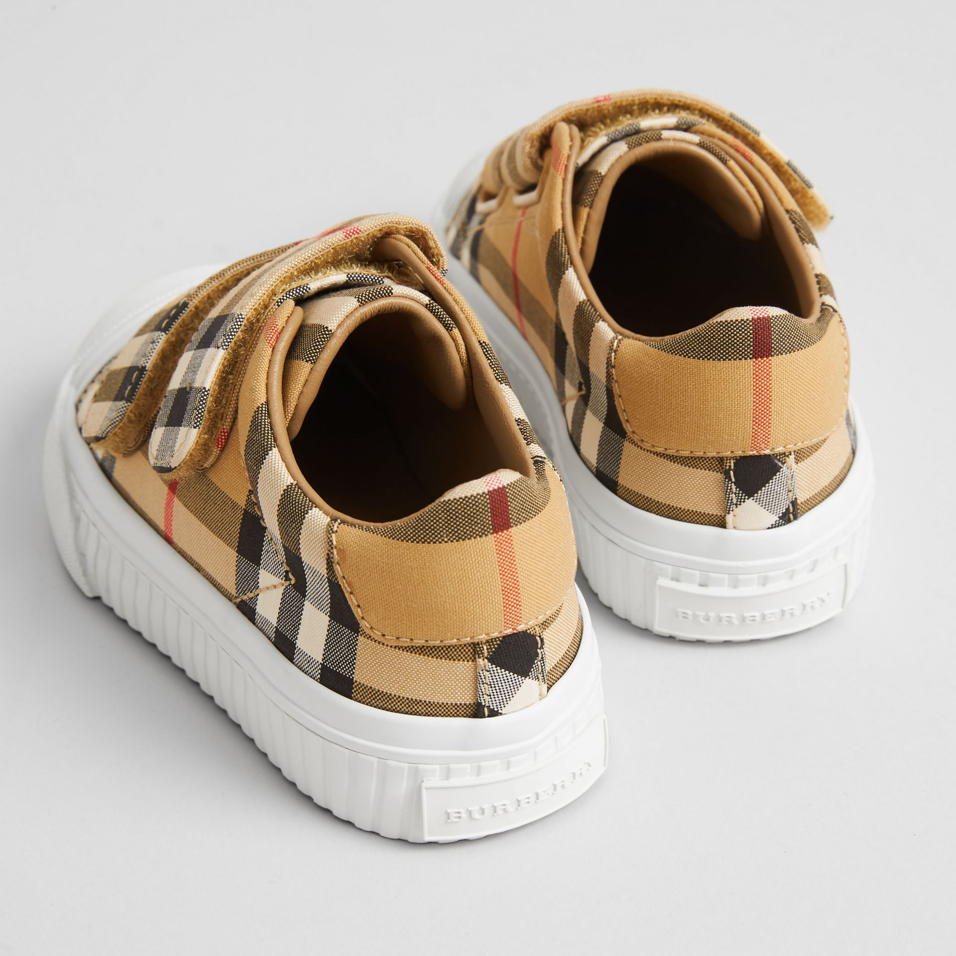 Vintage Check and Leather Sneakers in Optic White/black - Children | Burberry United Kingdom - gallery image 2