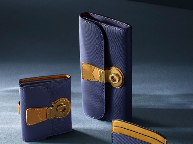 Two-tone Trench Leather Continental Wallet in Ink Blue/ochre Yellow - Women | Burberry - cell image 4