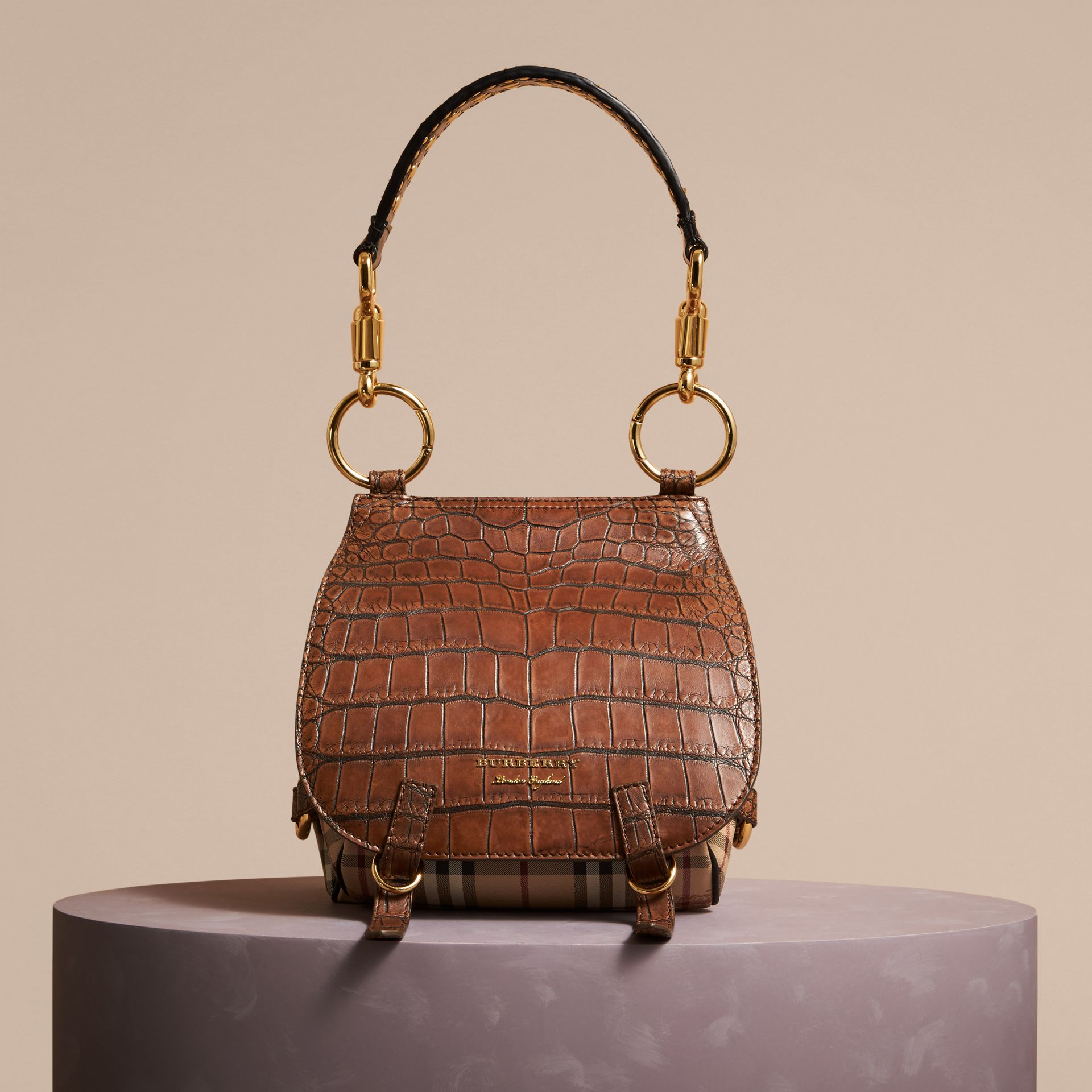 Russet brown The Bridle Bag in Alligator and Haymarket Check - gallery image 7