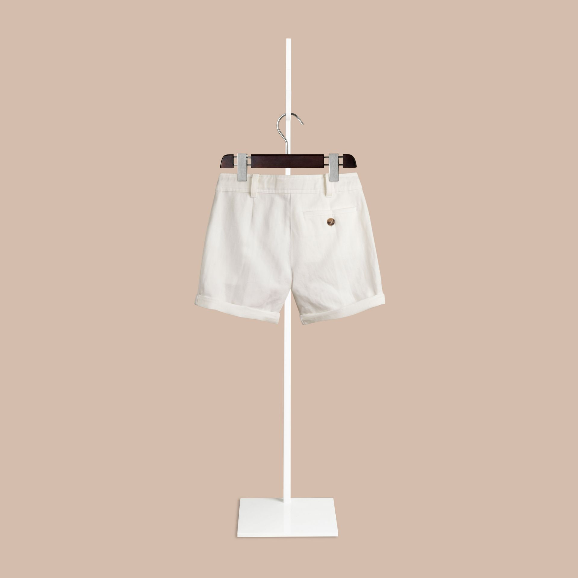 White Pleated Cotton Linen Chino Shorts - gallery image 2