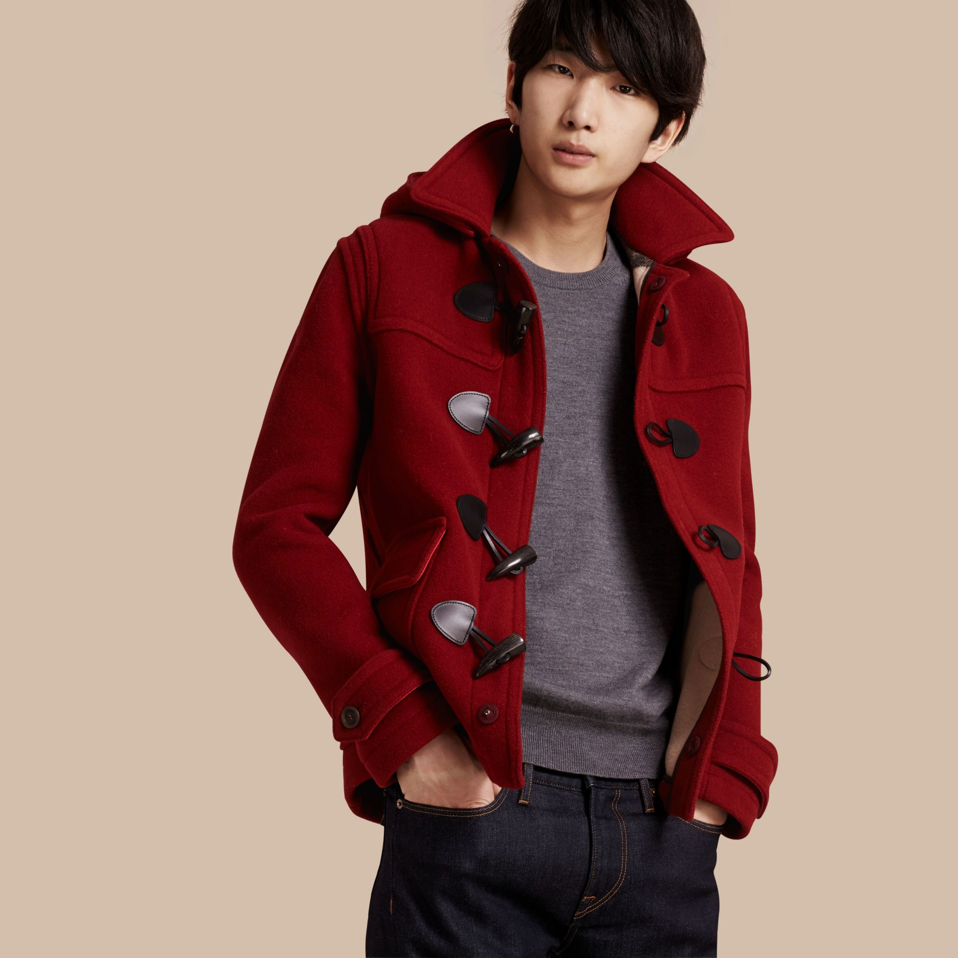 Parade red Wool Detachable Hood Duffle Jacket - gallery image 1