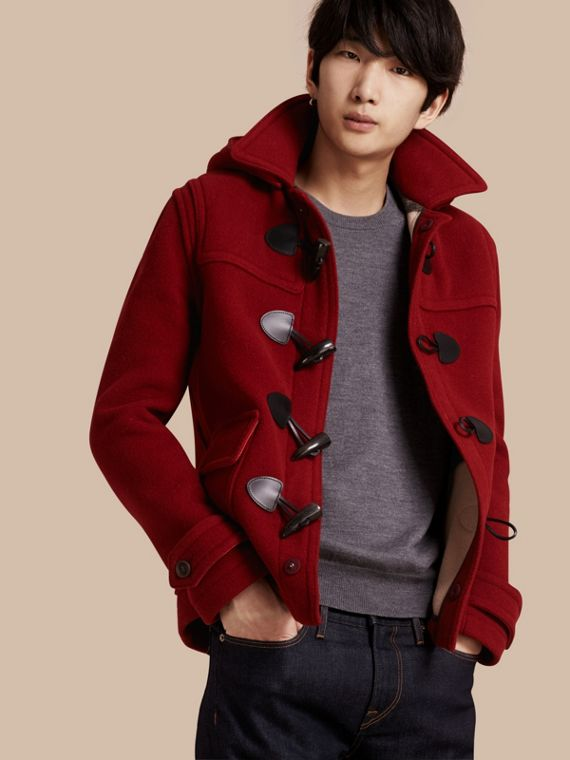 Wool Detachable Hood Duffle Jacket Parade Red