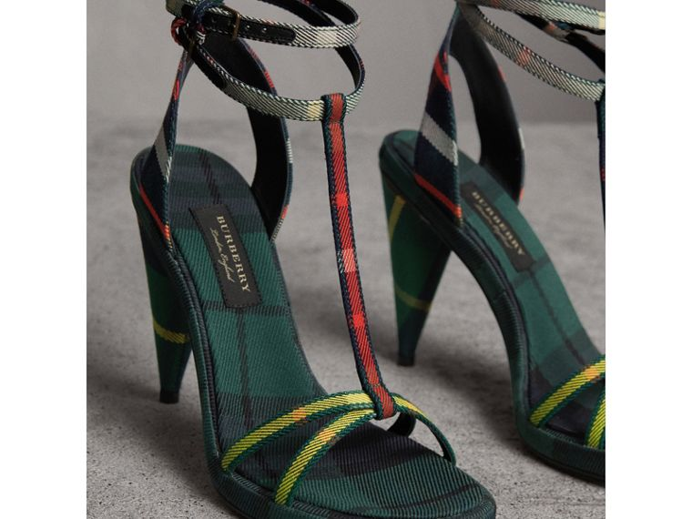 Tartan Cotton Cone-heel Sandals in Forest Green - Women | Burberry - cell image 4