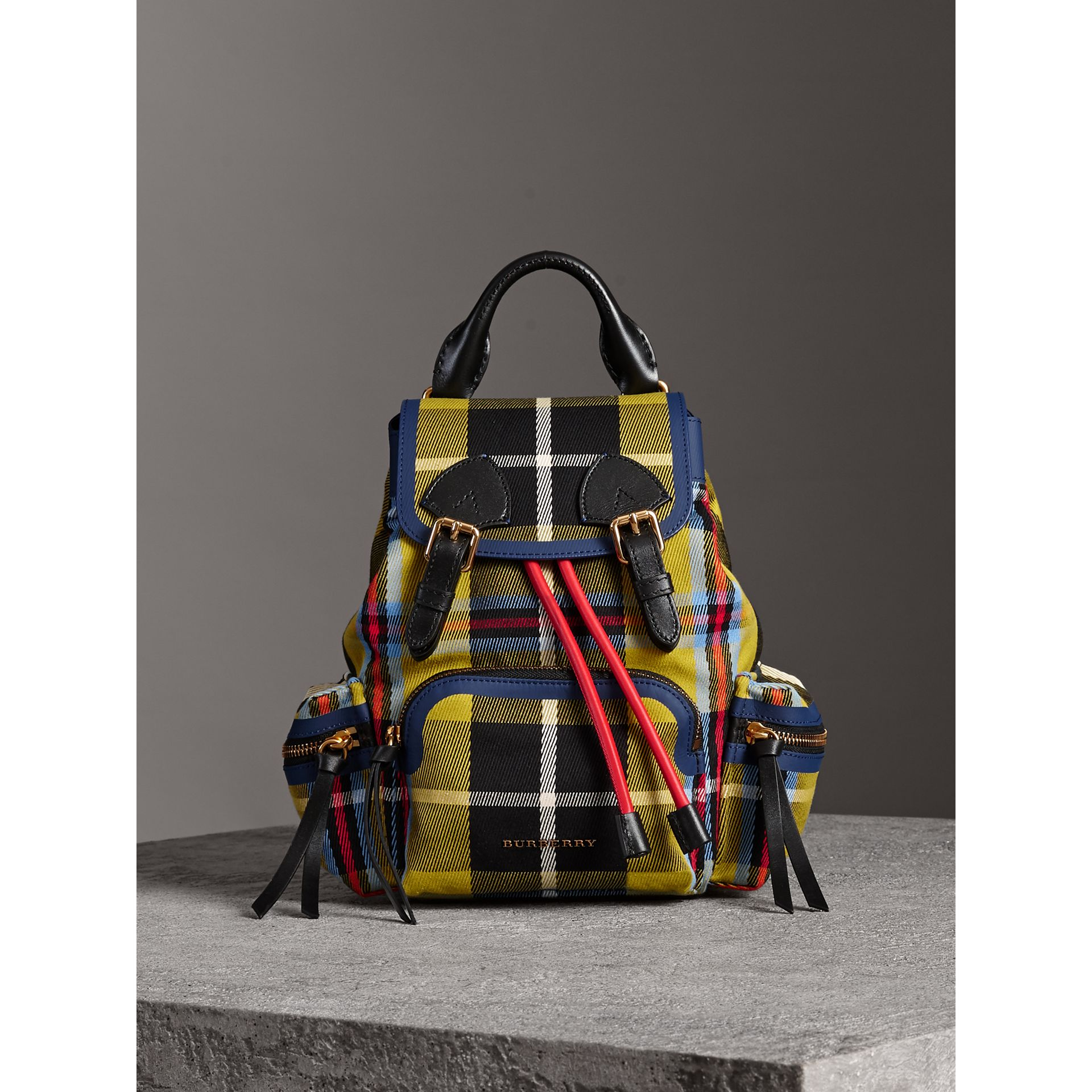 The Small Rucksack in Check Cotton and Leather in Flax Yellow - Women | Burberry United Kingdom - gallery image 7