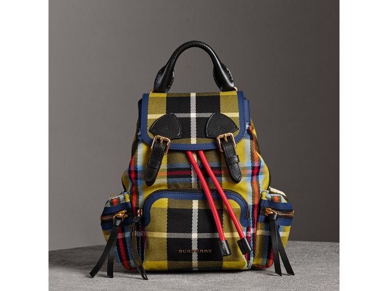 The Small Rucksack in Check Cotton and Leather in Flax Yellow - Women | Burberry - cell image 4