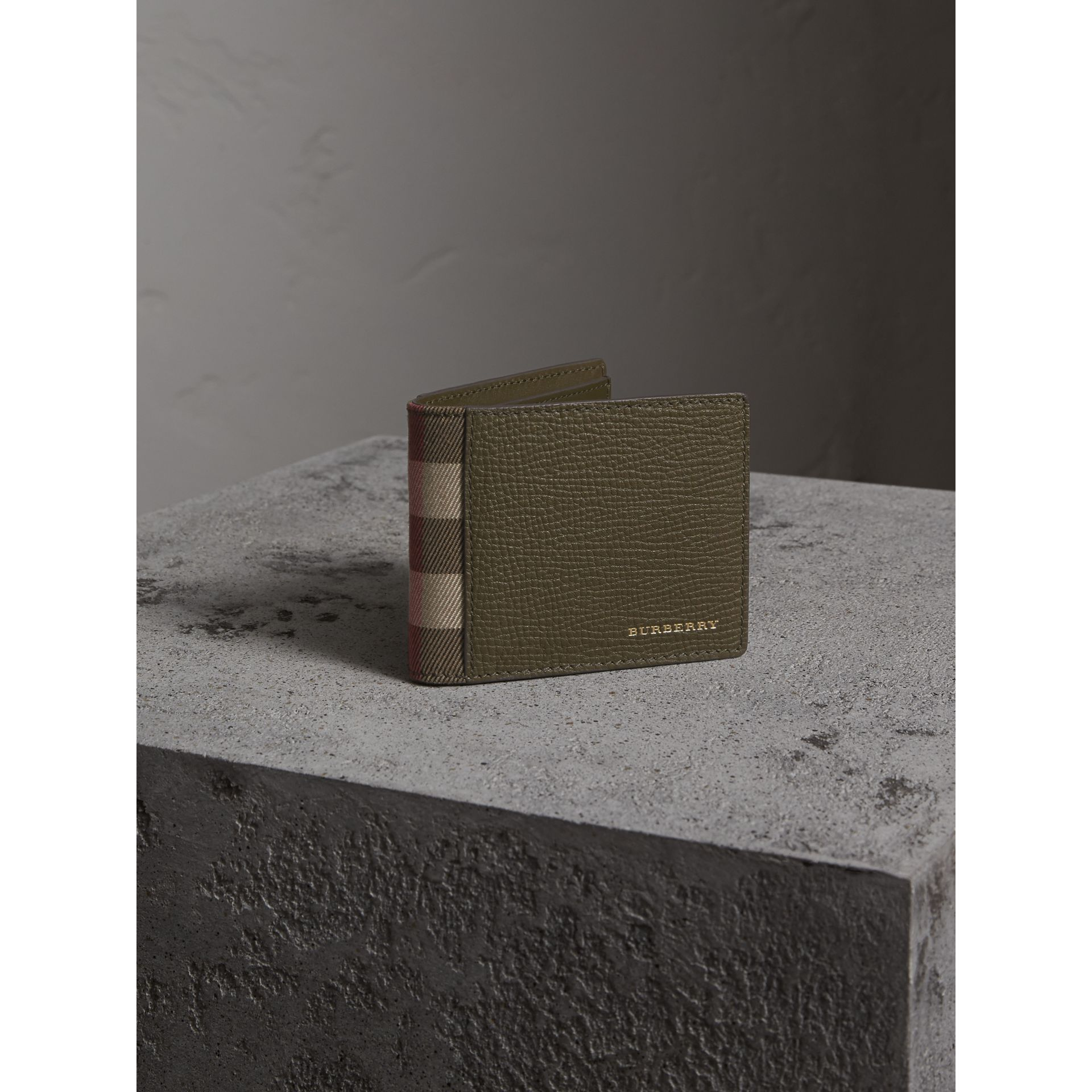 Grainy Leather and House Check Bifold Wallet in Sage - Men | Burberry - gallery image 1
