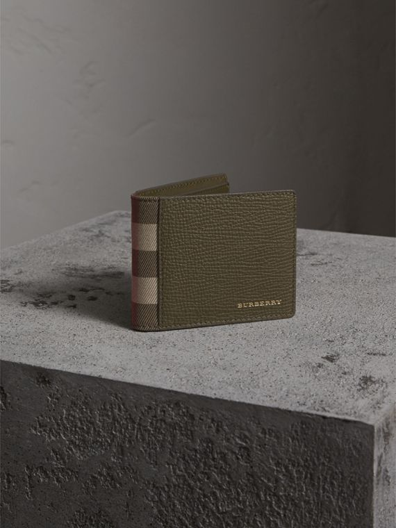 Grainy Leather and House Check Bifold Wallet in Sage