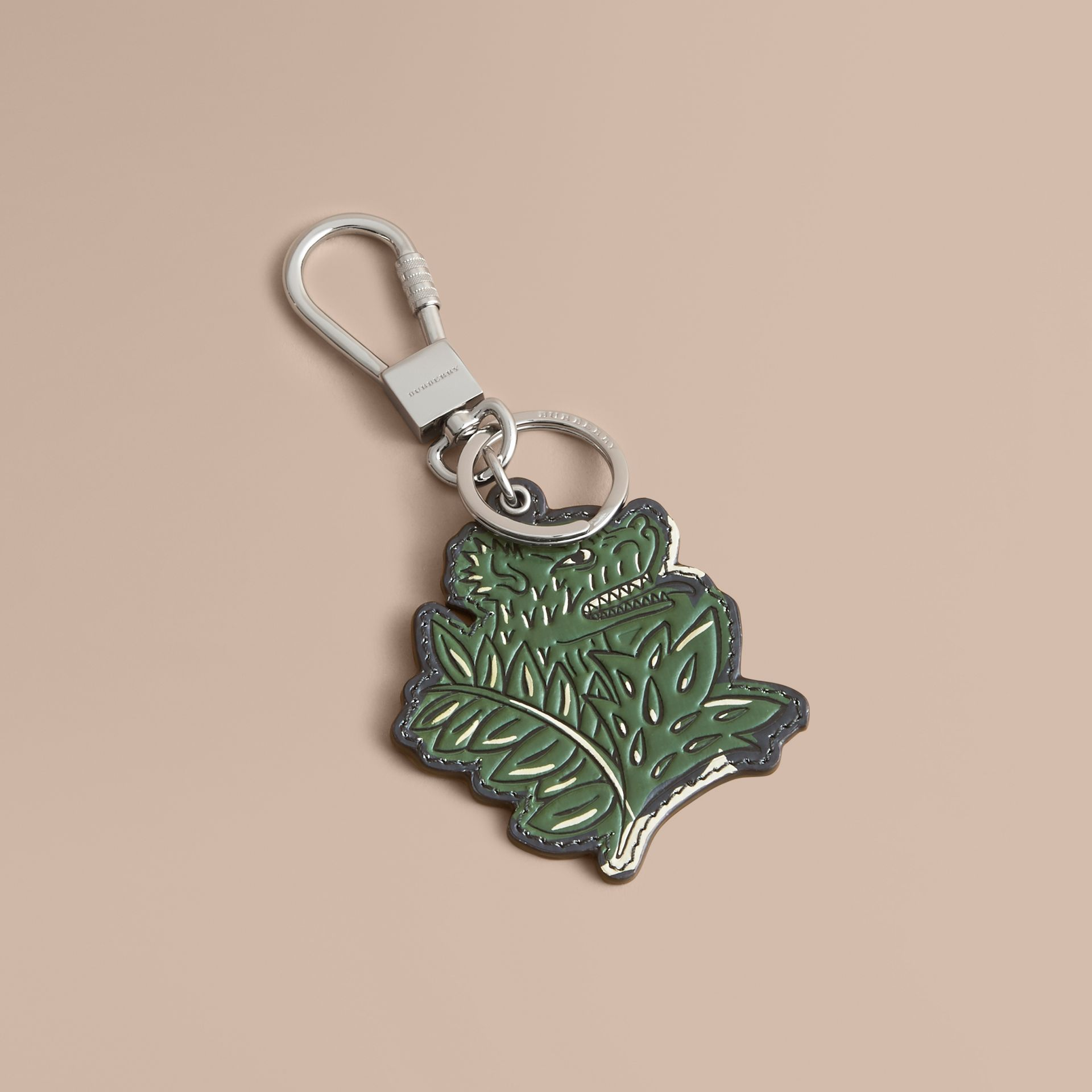 Beasts Leather Key Ring in Olive Green - gallery image 1