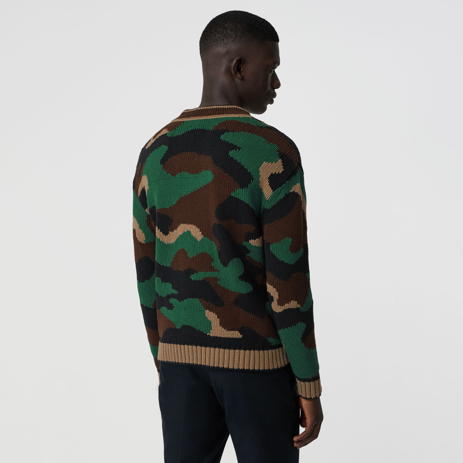 Camouflage Intarsia Cotton Blend Sweater in Forest Green - Men | Burberry Australia - gallery image 2