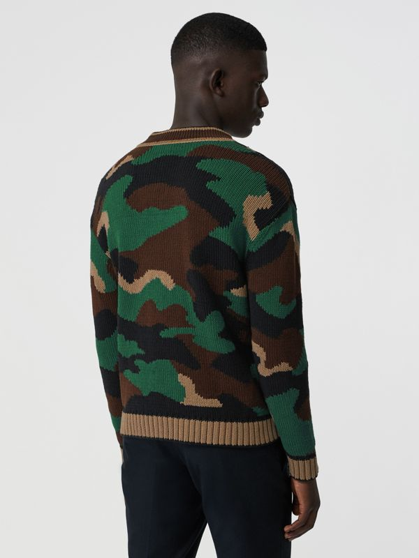 Camouflage Intarsia Cotton Blend Sweater in Forest Green - Men | Burberry Australia - cell image 2