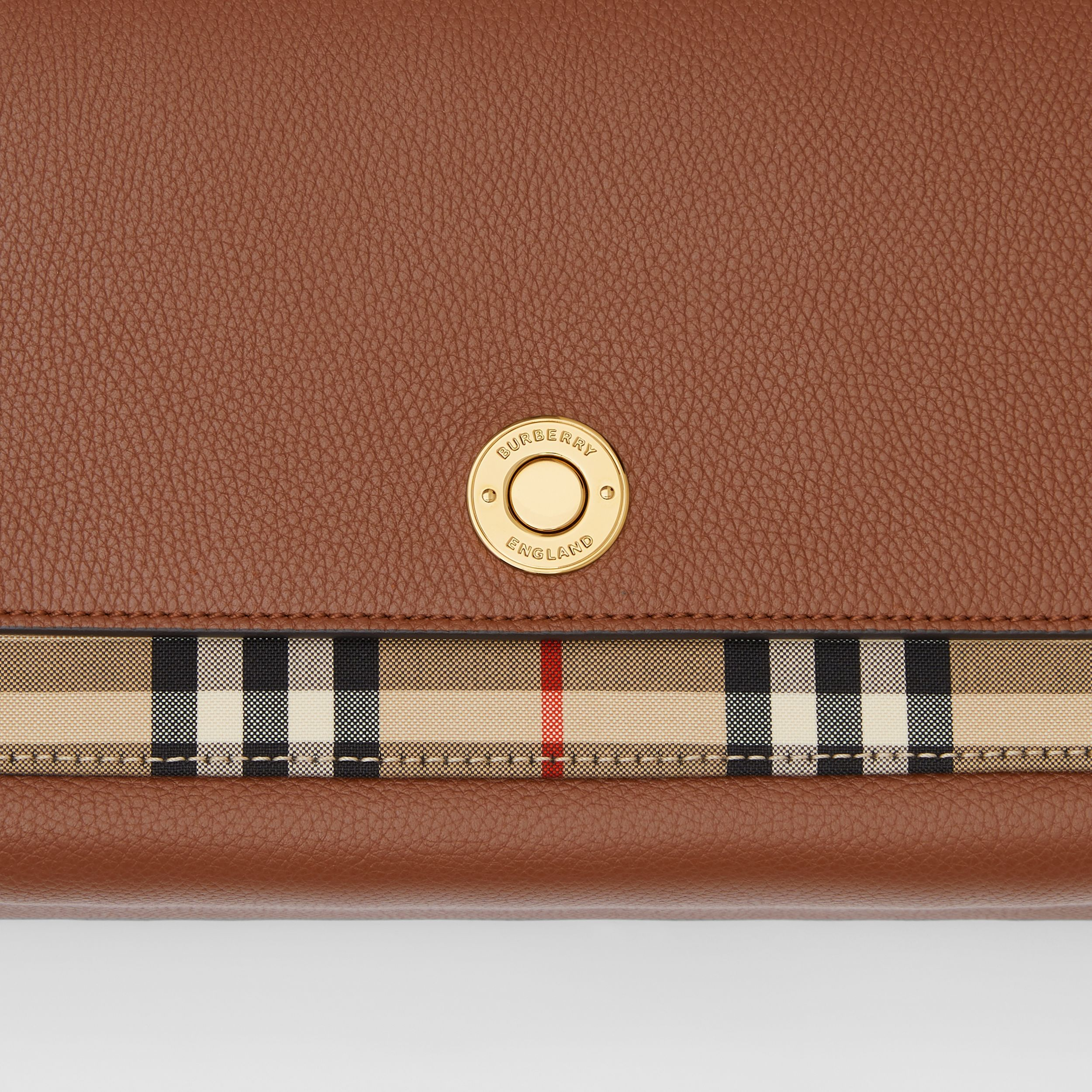 Leather and Vintage Check Note Crossbody Bag in Tan | Burberry - 2