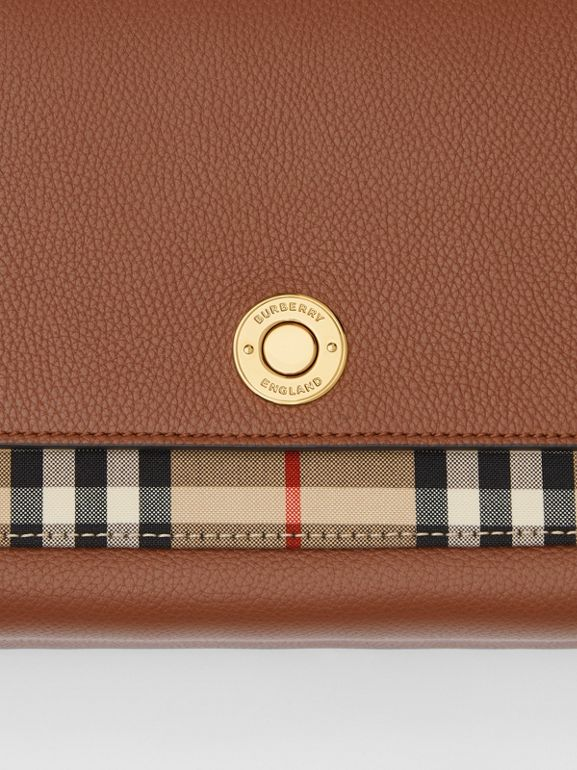 Leather and Vintage Check Note Crossbody Bag in Tan - Women | Burberry United States - cell image 1