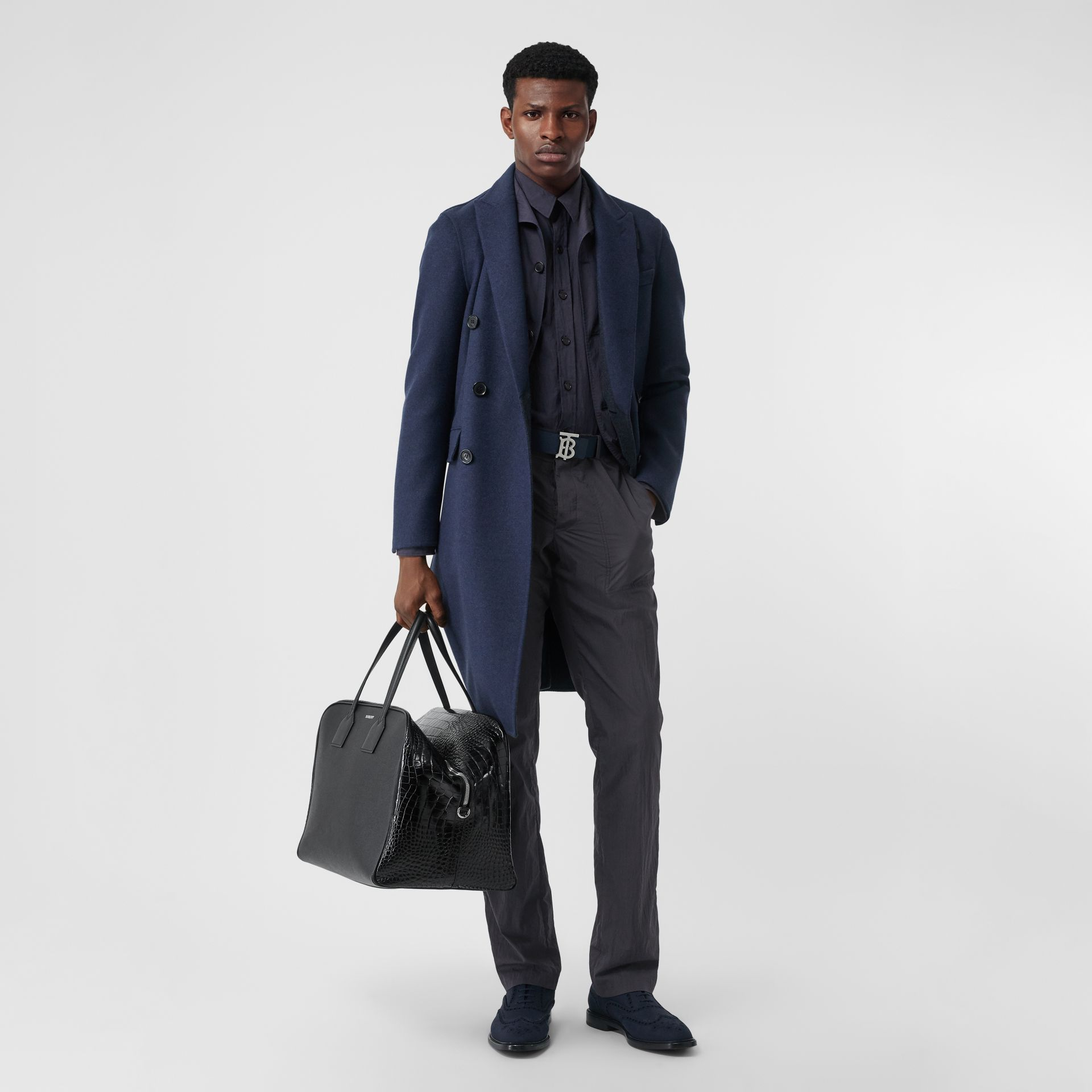Classic Fit Cotton Blend Tailored Trousers in Navy - Men | Burberry Australia - gallery image 0