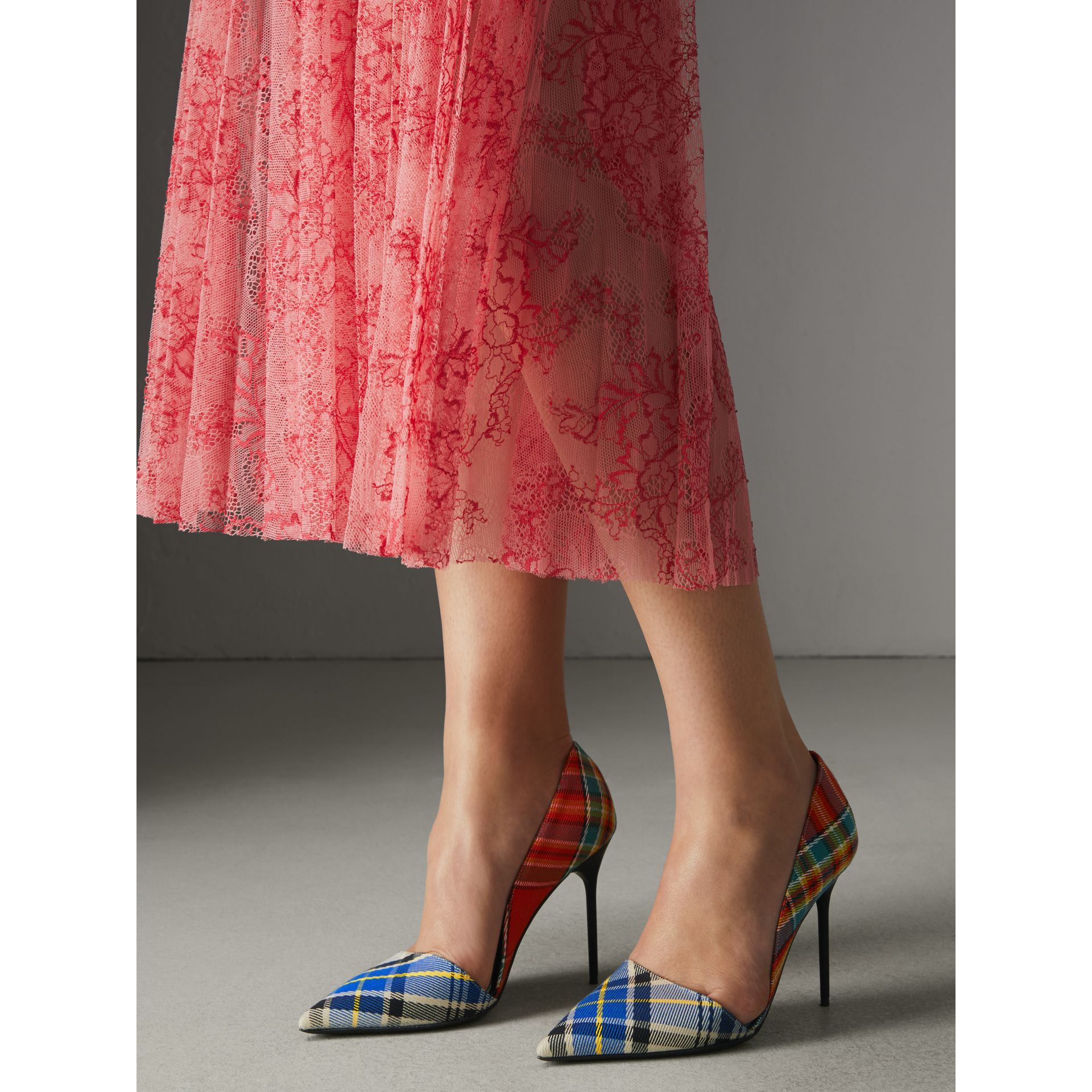 Tartan Cotton Pumps in Poppy Orange - Women | Burberry - gallery image 2