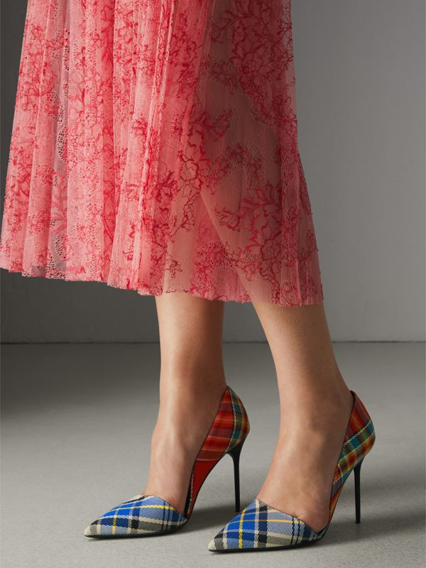 Tartan Cotton Pumps in Poppy Orange - Women | Burberry - cell image 2