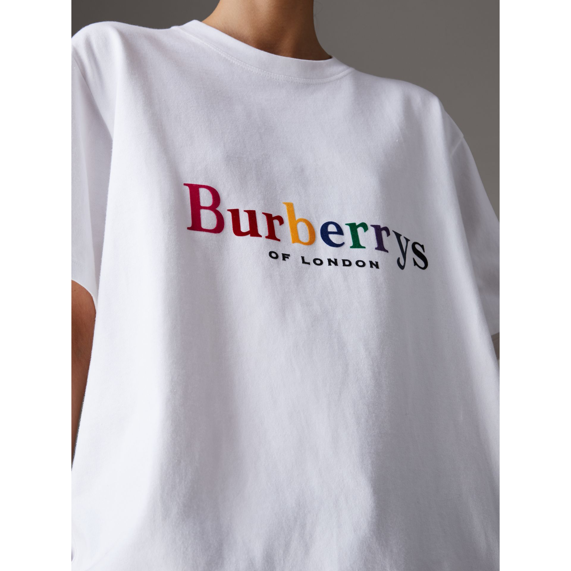 Reissued Cotton T-shirt in Rainbow - Women | Burberry - gallery image 1