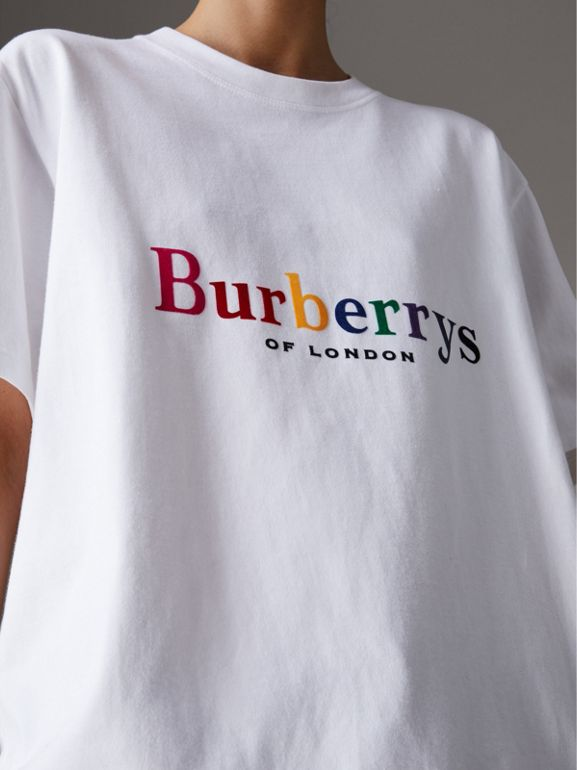 Reissued Cotton T-shirt in Rainbow - Women | Burberry - cell image 1