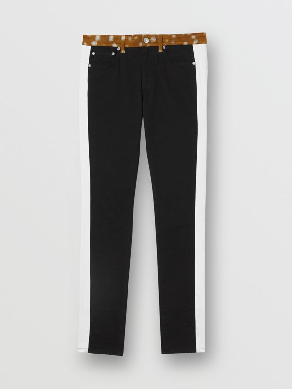Straight Fit Deer Print Trim Japanese Denim Jeans in Black - Women | Burberry - cell image 3