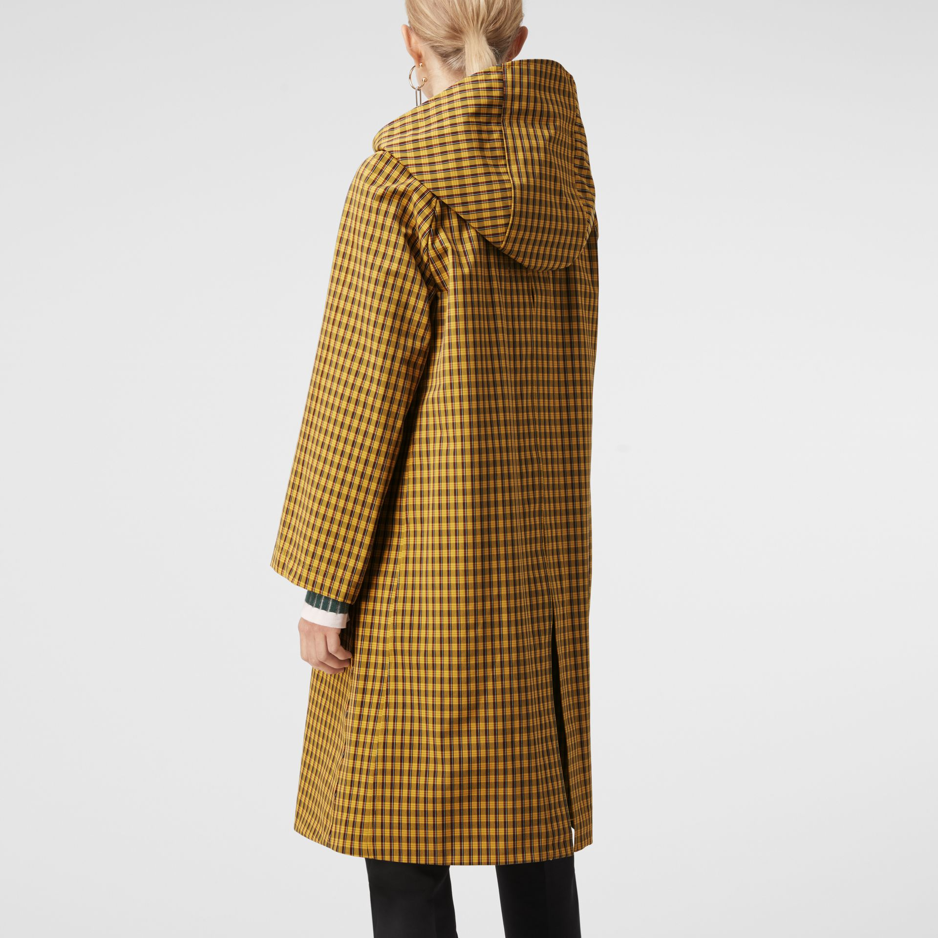 Detachable Hood Check Cotton Car Coat in Ochre Yellow - Women | Burberry - gallery image 2