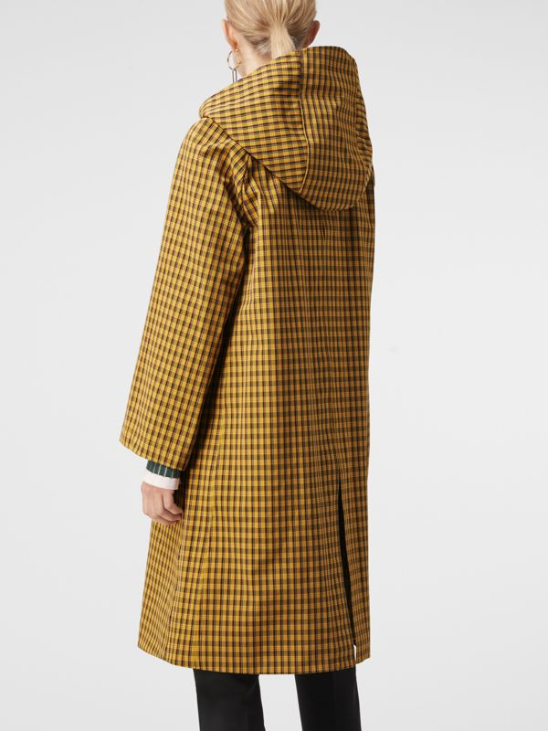 Detachable Hood Check Cotton Car Coat in Ochre Yellow - Women | Burberry - cell image 2