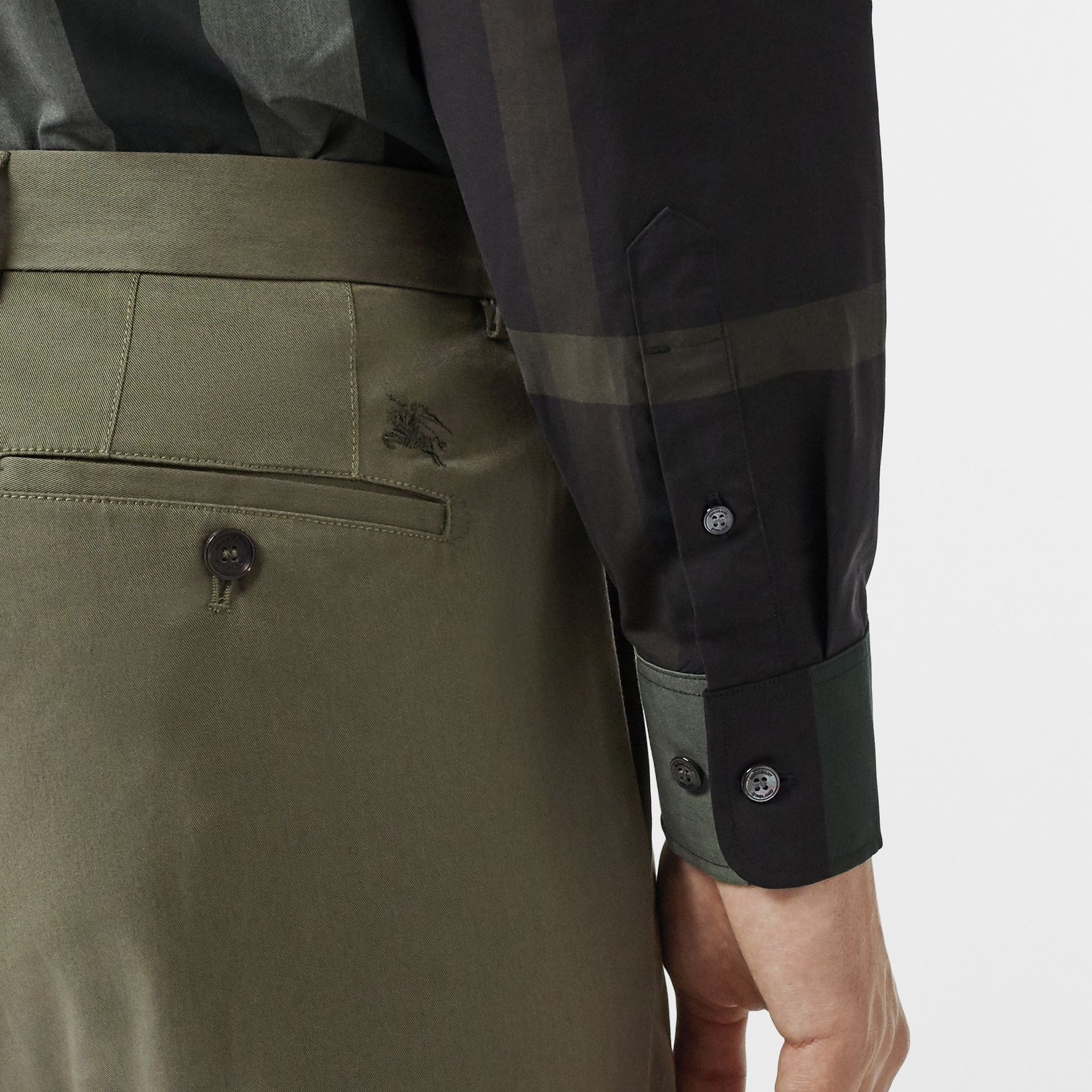 Slim Fit Cotton Chinos in Military Green - Men | Burberry - gallery image 1