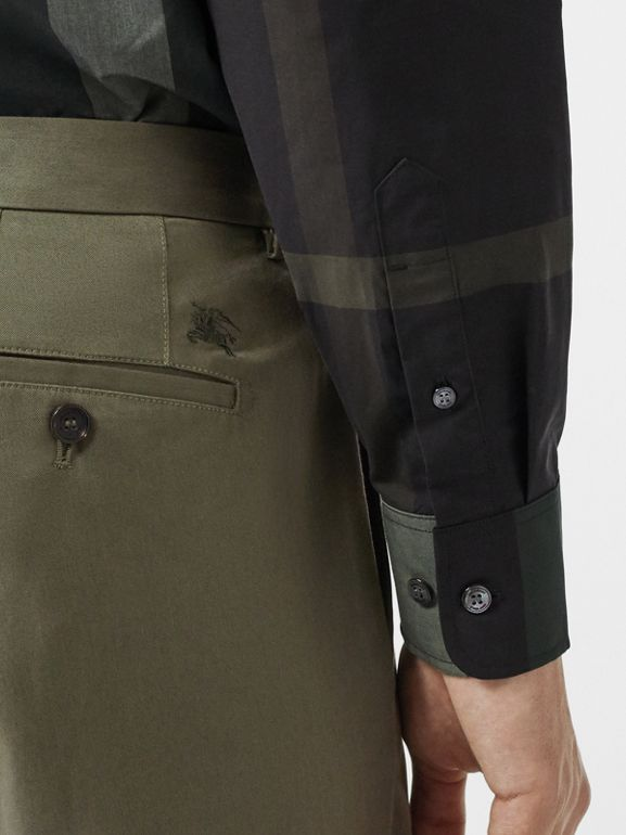 Slim Fit Cotton Chinos in Military Green - Men | Burberry - cell image 1