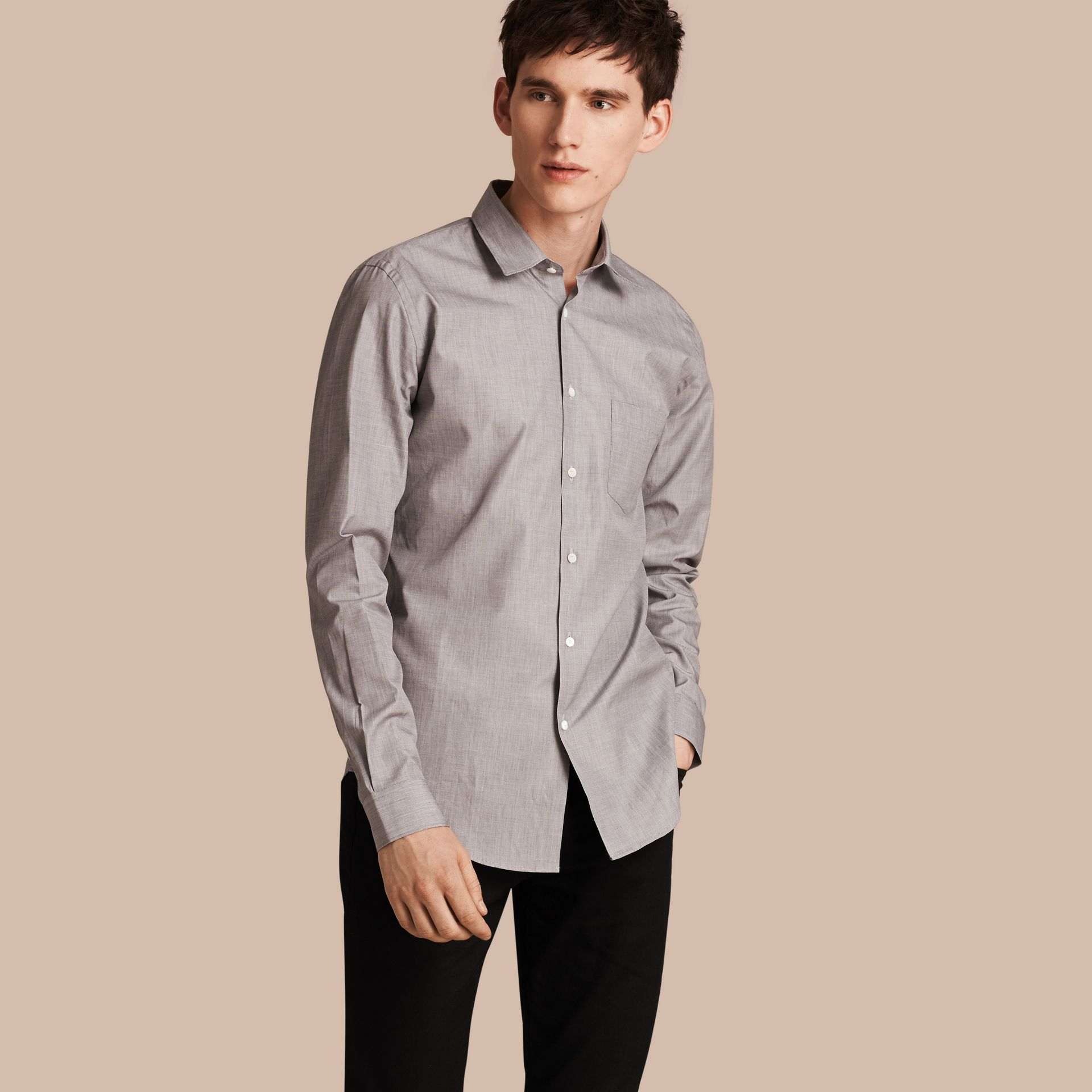 Mid grey Mélange Cotton Shirt Mid Grey - gallery image 1