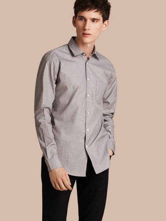 Mélange Cotton Shirt Mid Grey